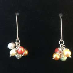 Multicolored Pearl Dangle Earrings-999 Pure Silver Rings with Sterling Hooks & Freshwater Pearls with beautiful vibrant colors by MJDesigns4You on Etsy