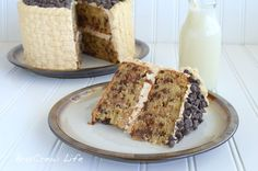 Chocolate Chip Banana Cake with Honey Peanut Butter Frosting - includes step-by-step pictures of how to do a basket weave with frosting!