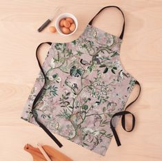 New product alert: Aprons! Click to purchase! . . . #fifikoussout #print #pattern #illustration #jungle #pink #chinoiserie #apron #Redbubble Pink Apron, White Apron, Victorian Fashion, Vintage Fashion, Vintage Style, Aprons For Men, Apron Designs, Aprons Vintage, Floral Illustrations