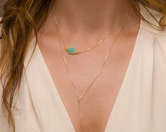Raw Crystal Necklace / 14k Gold fill or Sterling by LayeredAndLong