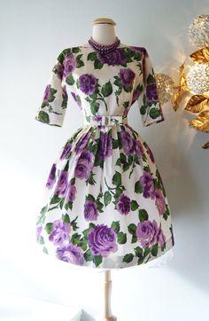 1950s Dress // Vintage 50s Rose Print Floral by xtabayvintage, $298.00