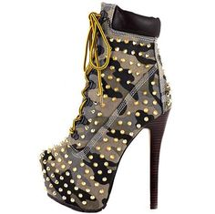 Women s Army Camo Rivet Studded Platform Lace Up High Heel Work Ankle Boots 81eca94cb6