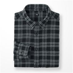 UNIQLO Flannel Checked Long Sleeve Shirt ($33) ❤ liked on Polyvore featuring men's fashion, men's clothing, men's shirts, men's casual shirts, mens long sleeve plaid shirts, mens checked shirts, mens flannel shirts, mens plaid flannel shirts and mens longsleeve shirts