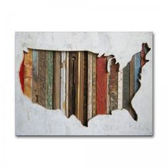 paper art print of original American silhouette map wood art assemblage. US map art print on paper for patriotic, Americana wall art. Dolan Geiman, Wooden Map, Wooden Ruler, Recycling, Art Diy, Us Map, Old Wood, Salvaged Wood, Jolie Photo
