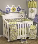 Periwinkle Baby Crib Bedding, Purple Floral Crib Bedding