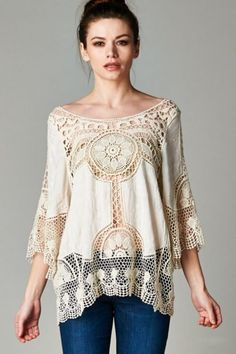 2020 Spring Summer Lace Womens Tops and Blouses Sun Protection Shirts Perspective Embroidery Blusa Renda White Camisa Feminina Casual Dress Outfits, Casual Dresses For Women, Clothes For Women, Women's Clothes, Fashion Clothes, Mode Crochet, Crochet Lace, Crochet Tunic, Crochet Tops