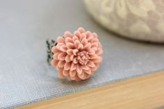 Pink Flower Ring Adjustable Filigree Cocktail Ring Chrysanthemum Dahlia Floral Accessories Adjustable Antique Rose Pink Antique Silver Lace