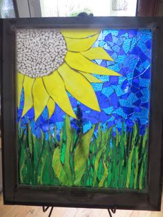 Daisy mosaic window sash / Mosaic Art / Window Privacy Barrier