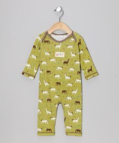 Take a look at this Green Horse Playsuit by Cloud Mine on #zulily today!