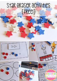 Star Eraser Freebie - You can download this FREE resource to help your preschool, Kindergarten, or 1st grade classroom or home school students work on their basic math skills. Base ten blocks, addition, and more can all be done. Click through to grab your free download now. {preK, Kinder, first graders, homeschool}