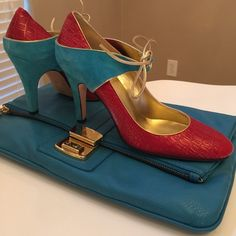 Due by Due Farina Pumps Gorgeous Due by Due Farina for Anthropologie suede ankle tie pumps. Beautiful red leather body with turquoise suede wrap heel and gold ankle ties. NWOB Due By Due Farina Shoes Heels