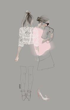 I love how this fashion illustration keeps you wanting more! Ilustração de moda de Agata Wierzbicka