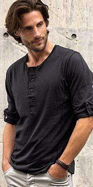 The off-black, smoky quality of this black henley shirt makes me think of Dark Winter