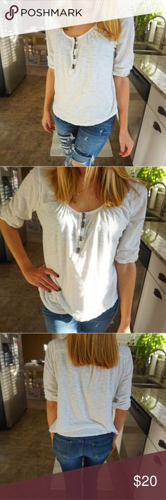 Super cute lucky brand top in size medium ❤ Super cute lucky brand top in size medium ❤ white color Lucky Brand Tops Tees - Long Sleeve