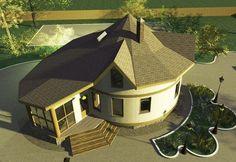 Проект Круглый соломенный дом с зимним садом вид с крыши сверху