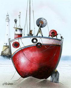 gary walton artwork   Pet Portrait Artist  Fine Art Gallery: The Red Tub - Gary Walton