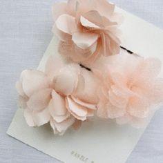 Sweet pink flower hair pins