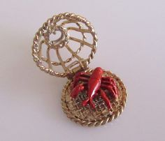 Large Gold Lobster Pot Opening Enamel Charm by TrueVintageCharms on Etsy