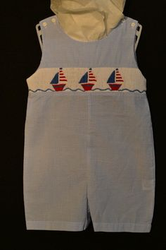 "Royal Child Smocked Boys Jon Jon in ""Sailboats""  Size 9M, NWOT  $50-60 in baby boutiques - Buy it Now for $35!!"