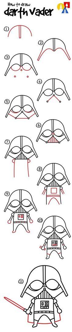 How to draw a cartoon darth vader star wars drawings, easy drawings, drawings for Star Wars Drawings, Doodle Drawings, Easy Drawings, Drawing Lessons, Drawing Tips, Art Lessons, Drawing Ideas, Drawing Art, Star Wars Zeichnungen