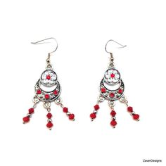 A personal favorite from my Etsy shop https://www.etsy.com/listing/253777413/antique-silver-red-earrings-chandelier