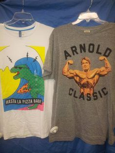 Are you a huge #ArnoldSchwarzenegger fan? If so, you'll love these shirts! Get them at #PlatosCloset for $6 or LESS! #ILLBeBack | www.platosclosetnewmarket.com