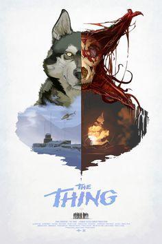 Framed Retro Movie Poster  John Carpenter The Thing (Replica Print Horror Film)