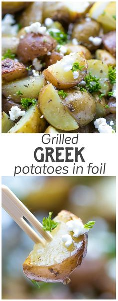 Grilled Greek Potatoes In Foil - quick and very easy to make, these potatoes are tender, flavorful and delicious. Mediterranean, Lemon, Feta Potatoes. via @cookinglsl