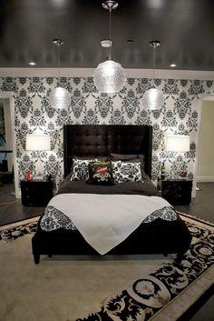 black and white walls, white trim, black ceiling