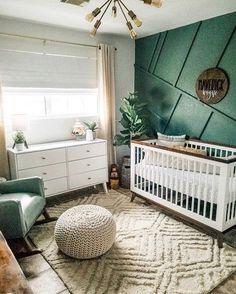 Baby Nursery Decor, Baby Decor, Accent Wall Nursery, Baby Nursery Ideas For Boy, Nursery Room Ideas, Modern Nursery Decor, Unisex Nursery Ideas, Boys Room Paint Ideas, Green Nursery Girl