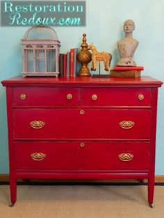 Red Furniture Inspiration Idea Box by Evey's Creations Paint Furniture, Furniture Projects, Furniture Makeover, Diy Projects, Refinished Furniture, Funky Furniture, Plywood Furniture, Furniture Design, Armoire En Pin