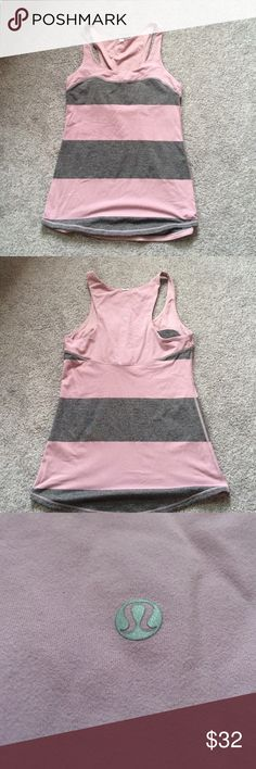 Grey and purple striped lulu top Grey and purple striped lulu lemon top. Size 6, however can fit a 4 as well. Good condition! Tag missing lululemon athletica Tops Muscle Tees