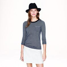 Collection cashmere long-sleeve tee in thin stripe