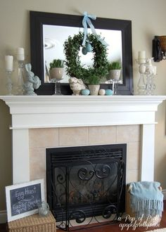 Like the wreath hanging from ribbon. Easter Decorating Ideas - Mantel