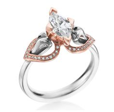 """MaeVona - Eriskay Collection 18K White & Rose Gold Pave """"Wing"""" Setting (Available at Michael C. Fina)"""