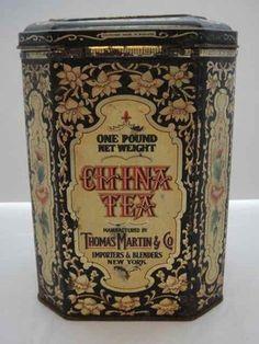Vintage Thomas Martin China Tea Hinged Tin, Shabby Chic, Tea Caddy, Tea Tin.