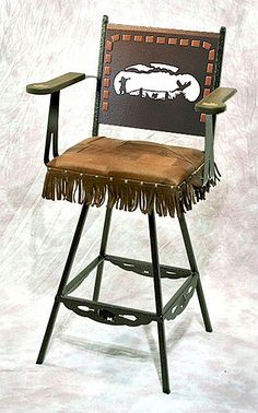 Pheasant hunt stool, leather seat, with fringe (Penny Vein)