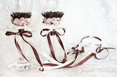Свадебные бокалы своими руками: полимерная глина и ленты