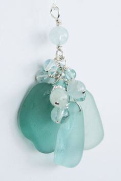 sea glass jewelry | Sea Glass Jewelry Aqua and Teal Ocean Shades Necklace Sterling Silver ...