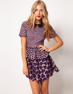 heart print peplum dress