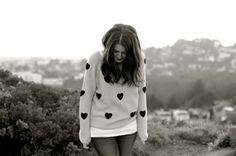 heart print sweater.