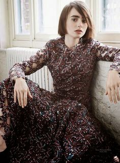 Lily Collins for Marie Claire France October 2014 - Roksanda Ilincic