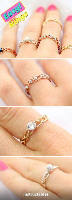 5 DIY Easy Rings - Braided & No Tools! jewelry diy bracelets 5 DIY Easy Rings - Braided & No Tools! Diy Jewelry Rings, Diy Jewelry Unique, Diy Jewelry To Sell, Diy Jewelry Holder, Diy Jewelry Making, Jewelry Crafts, Jewelery, Jewelry Storage, Gold Jewelry