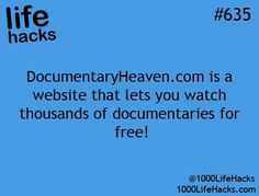 Documentaries are an excellent way to supplement fiction texts in the class- bring in historical info, statistics, crazy eye-opening situations, and make students interested and excited using a medium they are VERY familiar with...all at no cost... Useful Life Hacks, Life Hacks