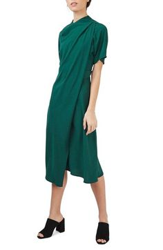 Topshop Origami Drape Neck Midi Dress available at #Nordstrom