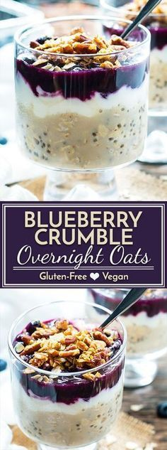 Wake up to a jar full of these healthy blueberry overnight oats loaded with good-for-you chia seeds, yogurt, and fresh blueberries and then topped with a crunchy pecan crumble! Oats Healthy Blueberry Overnight Oats with Chia Seeds & Yogurt Healthy Desayunos, Healthy Drinks, Healthy Recipes, Healthy Breakfasts, Healthy Eating, Healthy Yogurt, Healthy Seeds, Healthy Nutrition, Healthy Weight