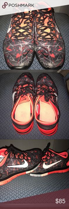 Splatter Paint Nike Free Excellent Condition Nike Free 5.0,splatter paint print with shades of black, red, grey, . Worn twice-great shoe Nike Shoes Athletic Shoes