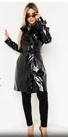 Pvc Raincoat, Macs, Rain Wear, Double Breasted, Patent Leather, Winter Jackets, Feminine, Humor, Chic