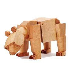 "Areaware Bear Poseable Wooden Figure ""Ursa"" on AHAlife"