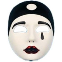 Pierrot Clown Mask is white and black with reddish lips. - SKU: CA-007816